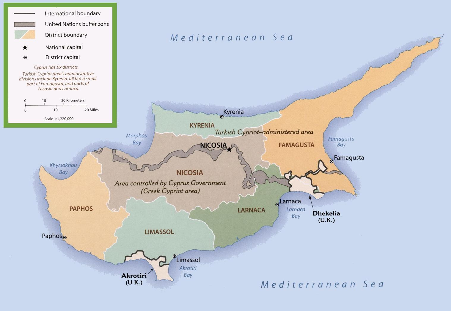 Karta Famagusta Cypern.Cypern Border Karta Karta Over Cypern Gransen Sodra Europa Europa