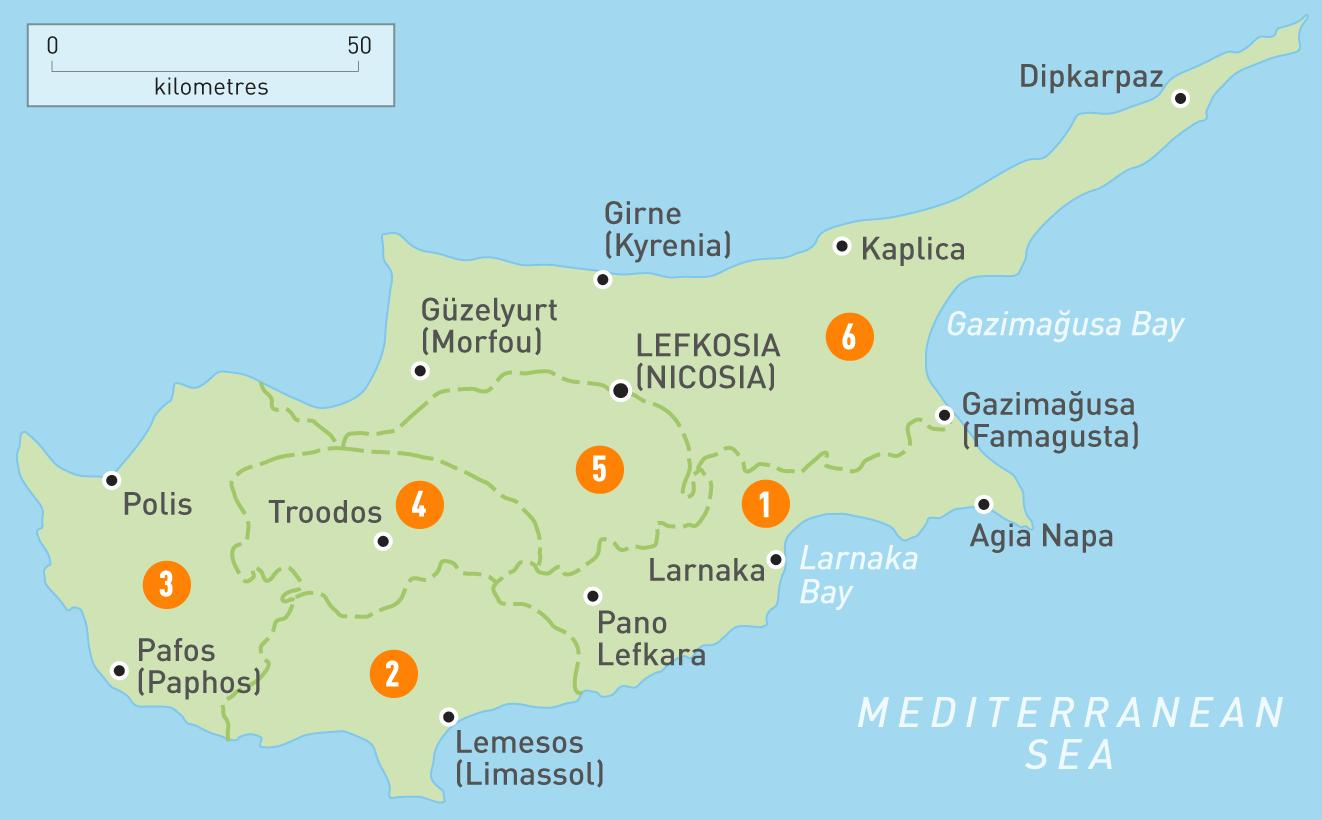 Karta Famagusta Cypern.Cypern Land Karta Karta Over Cypern Landet Sodra Europa Europa