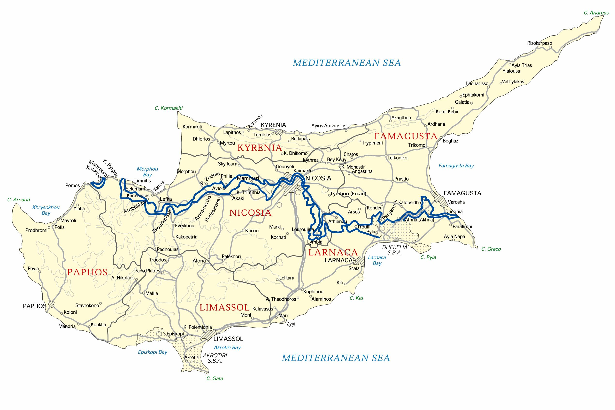 Cypern Offline Karta Karta Over Cypern Offline Sodra Europa
