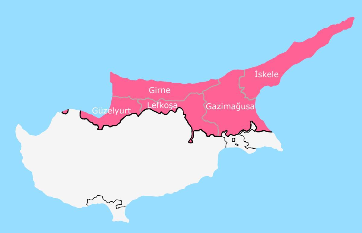 Cypern Uppdelad Karta Karta Over Cypern Splittrade Sodra Europa