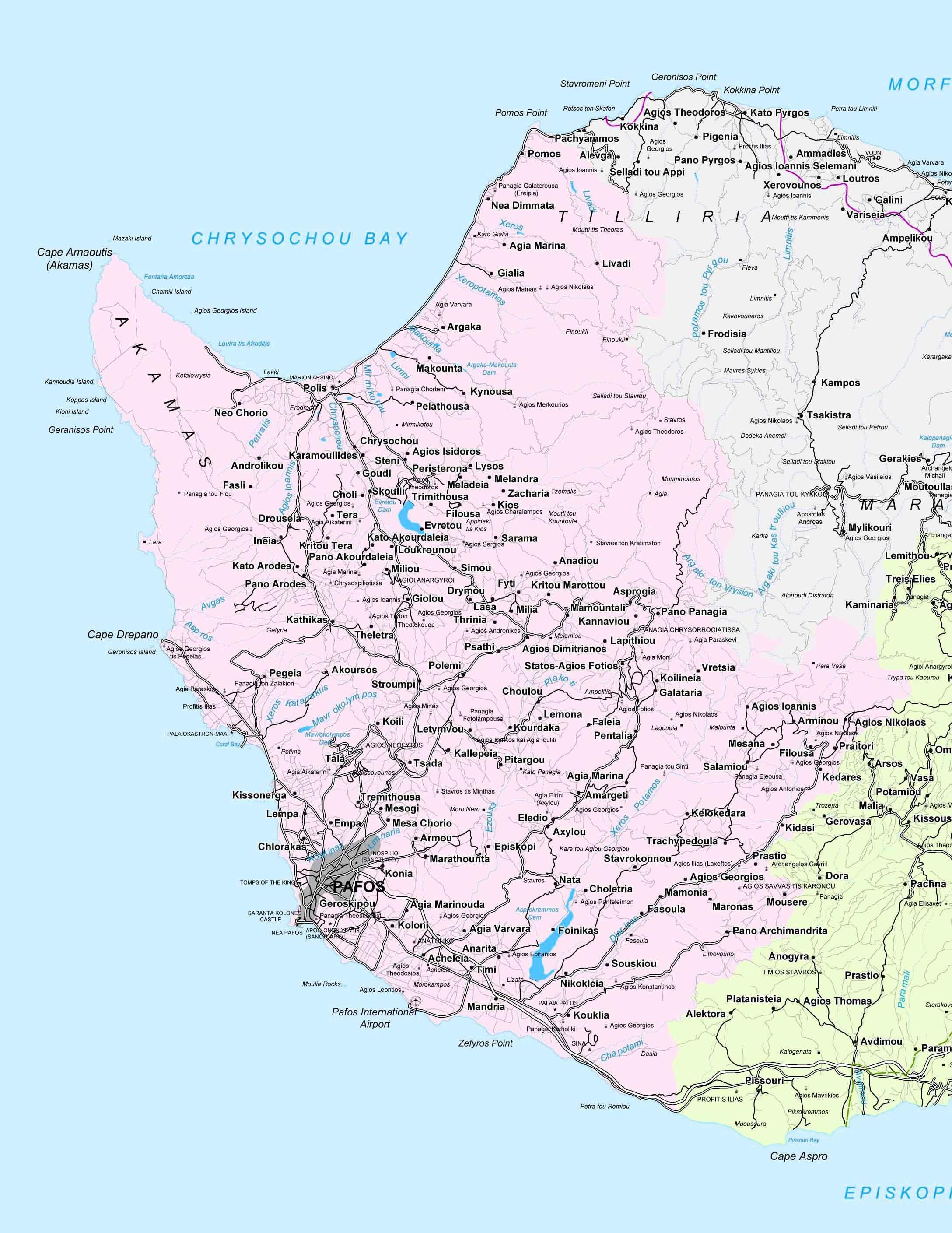 pafos karta Karta över pafos på Cypern   Street map i paphos, Cypern (Södra  pafos karta