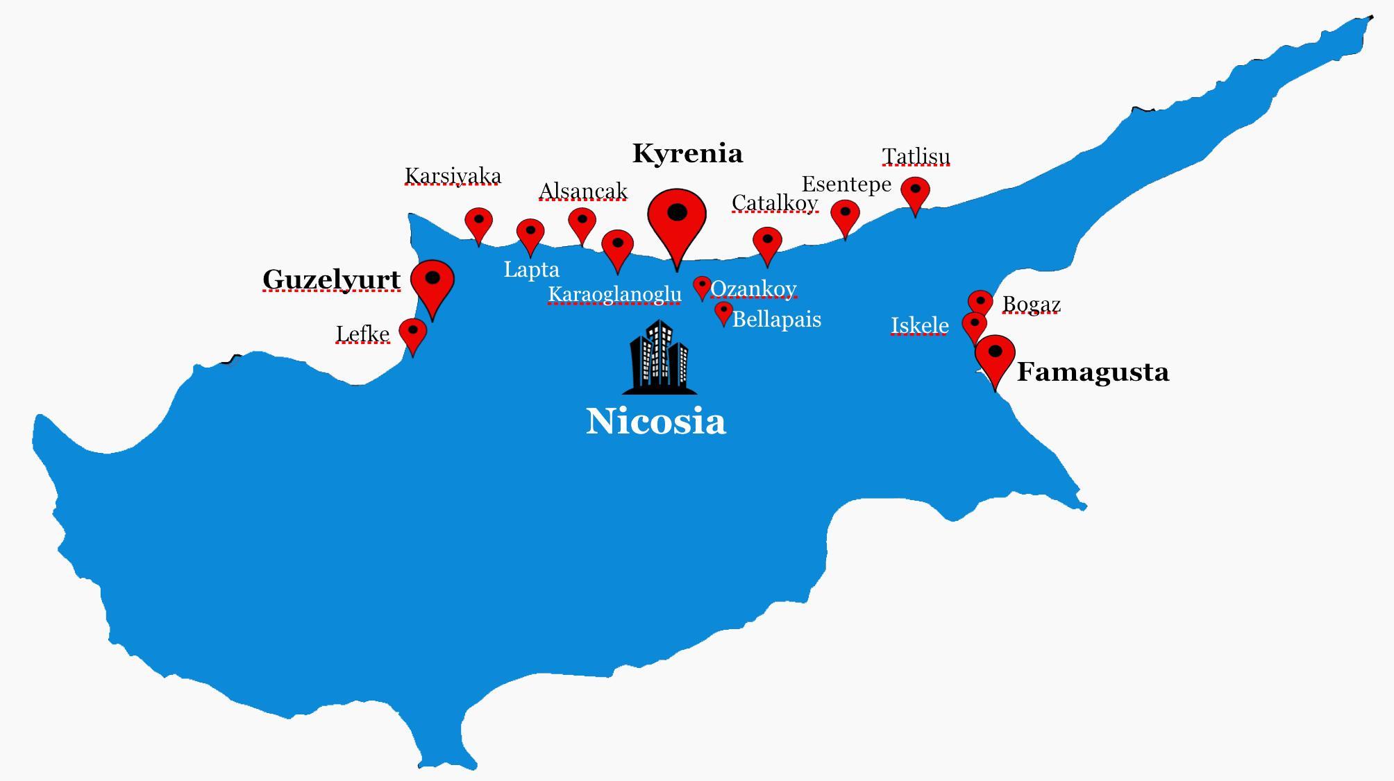 Karta Famagusta Cypern.Norra Cypern Karta Norra Cypern Fardplan Sodra Europa Europa