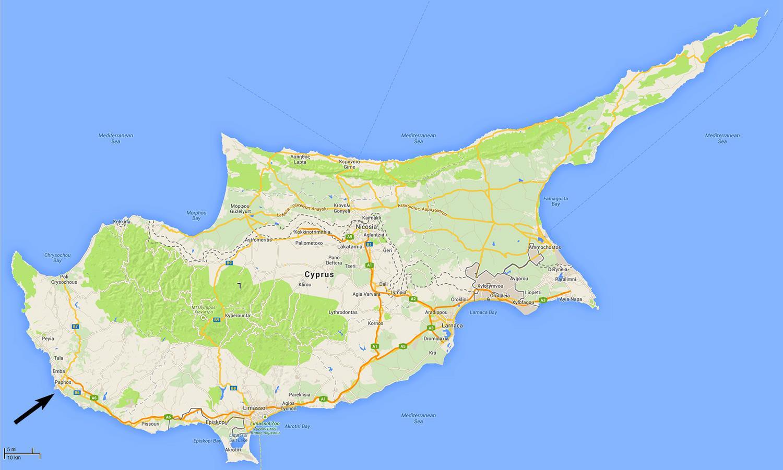 Paphos Cypern Karta Karta Paphos Cypern Sodra Europa Europa