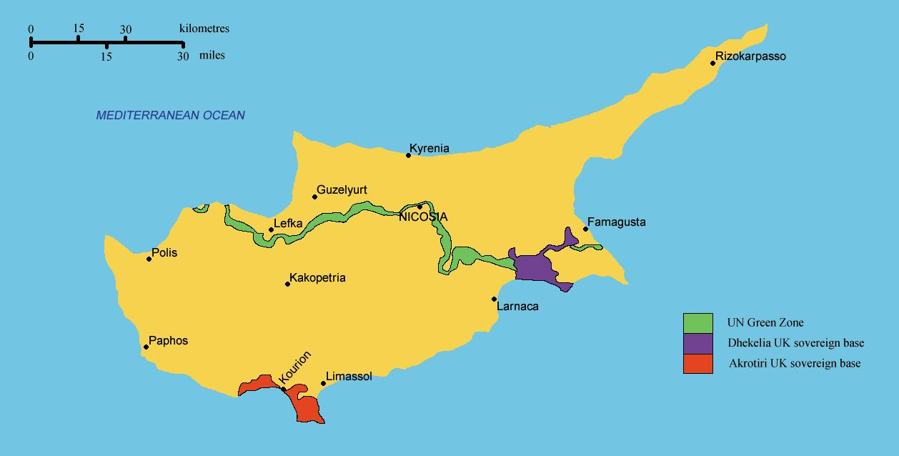 Karta Famagusta Cypern.Sodra Cypern Karta Karta Over Sodra Cypern Sodra Europa Europa