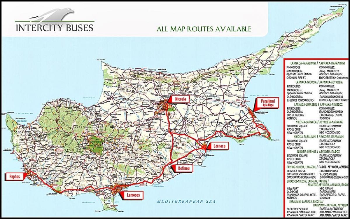 Cypern Buss Karta Cypern Buss Rutt Karta Sodra Europa Europa