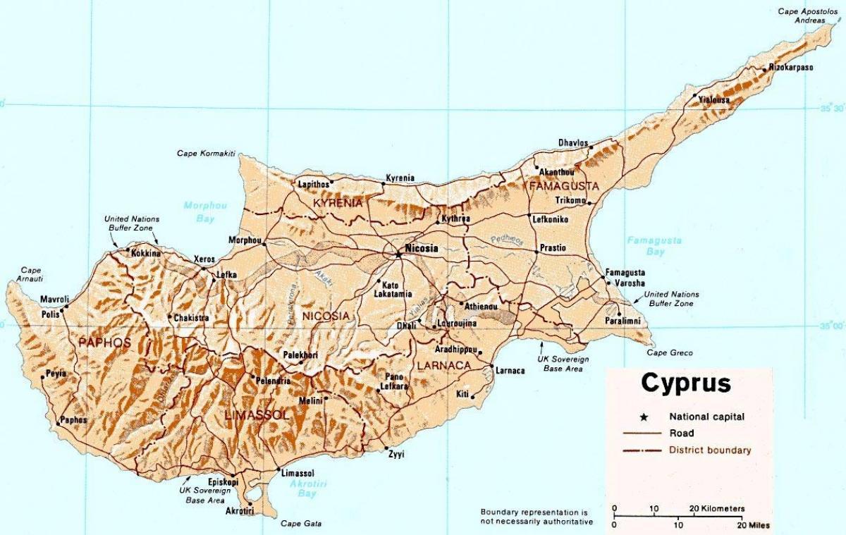 Cypern Island Karta Detaljerad Karta Over On Cypern Sodra
