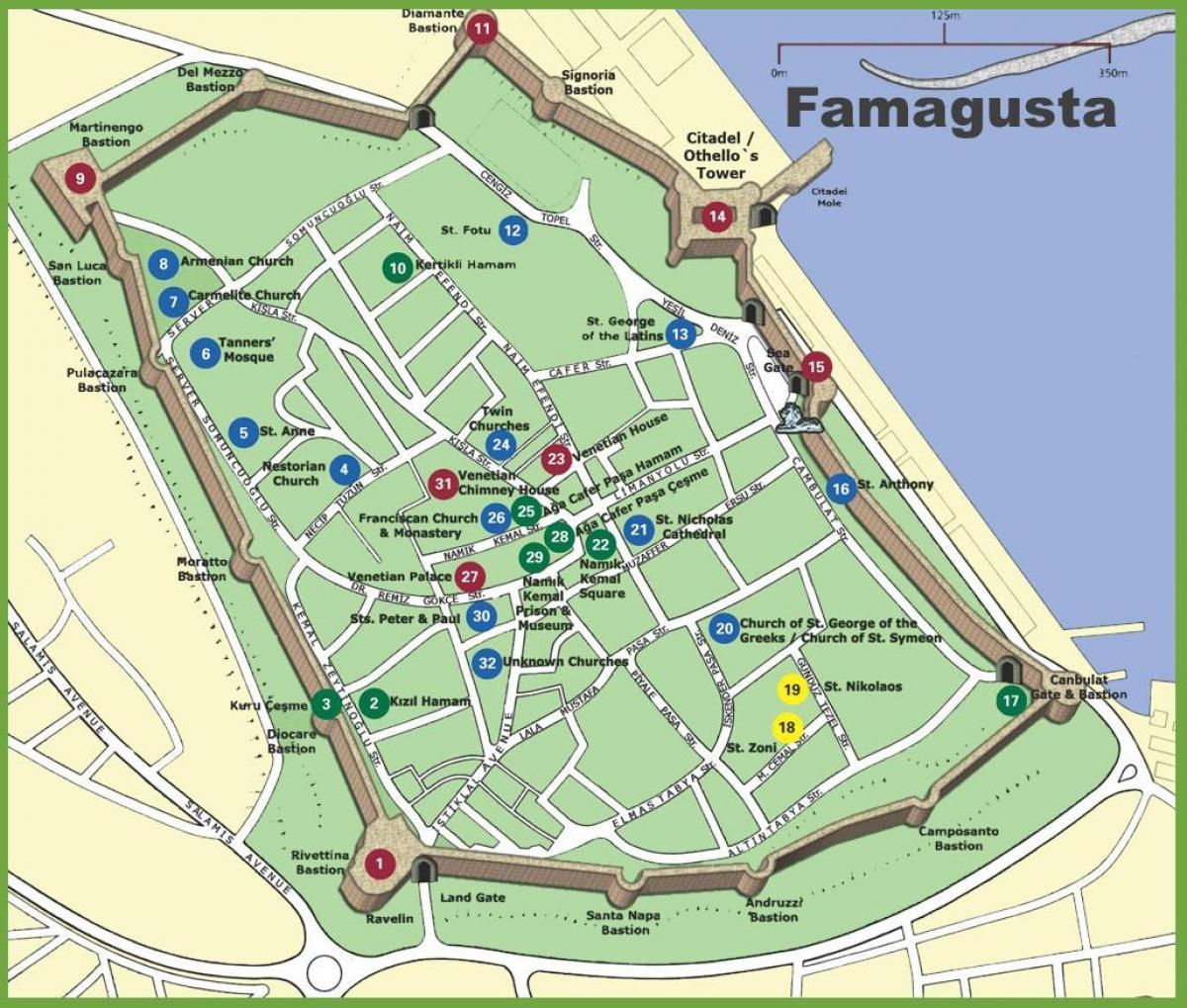 Karta Famagusta Cypern.Famagusta Pa Cypern Karta Karta Over Famagusta Norra Cypern Sodra
